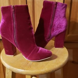 Hot fuchsia velvet booties -Justfab